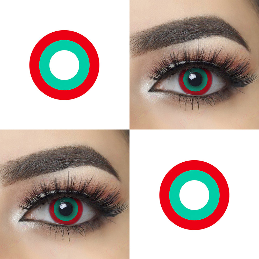 Red and Green Circle Halloween Contacts Picture and Eye Effect