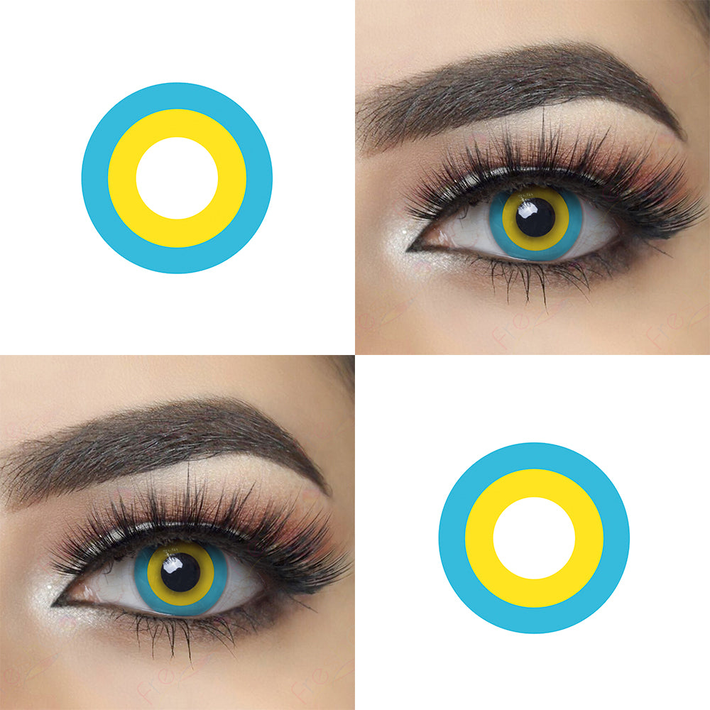 Blue and Yellow Circle Halloween Contacts Crazy Looking Eye Effect and Lens Picture