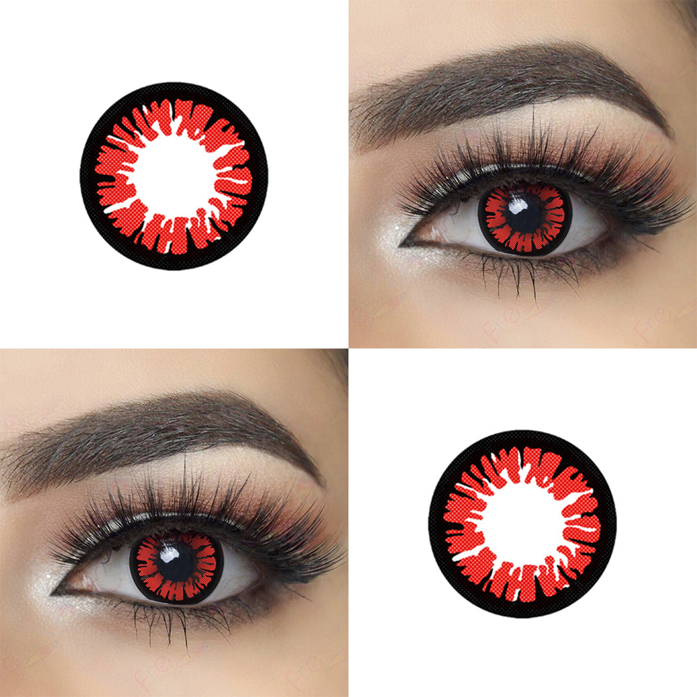 Glamor Red Halloween Contacts Picture and Eye Effect