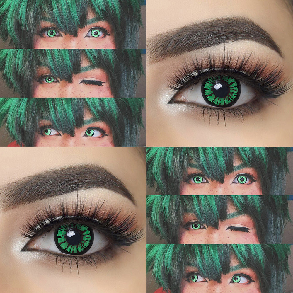 Glamor Green Halloween contacts with eye effect and model lens photo