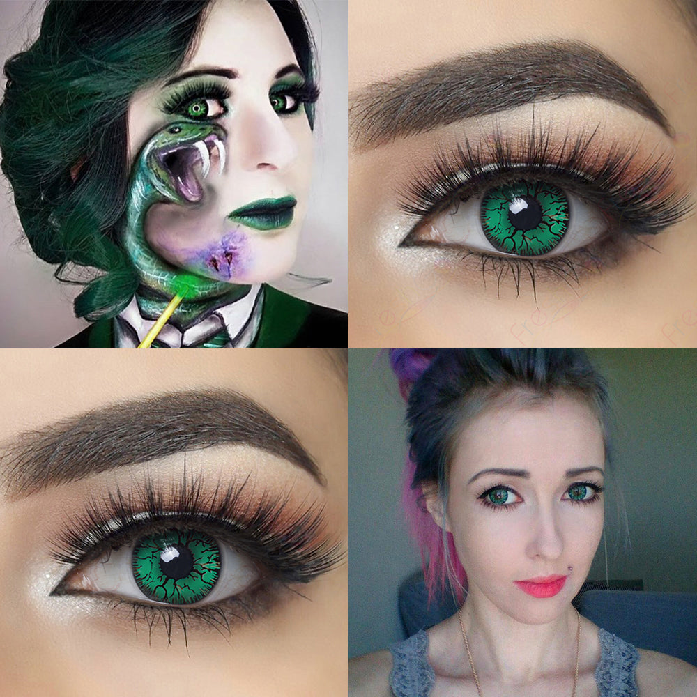 Green Crack Halloween Contacts Eye Effect and Model with 14.0 mm Crazy Lens Cosplay Looking