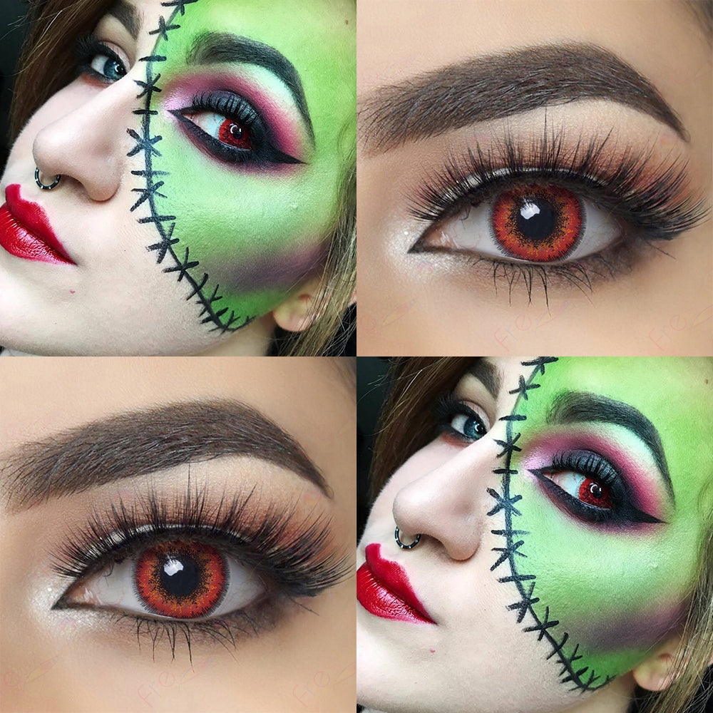 Envy Red Halloween Contacts Picture, Eye Effect and Model Cosplay Looking