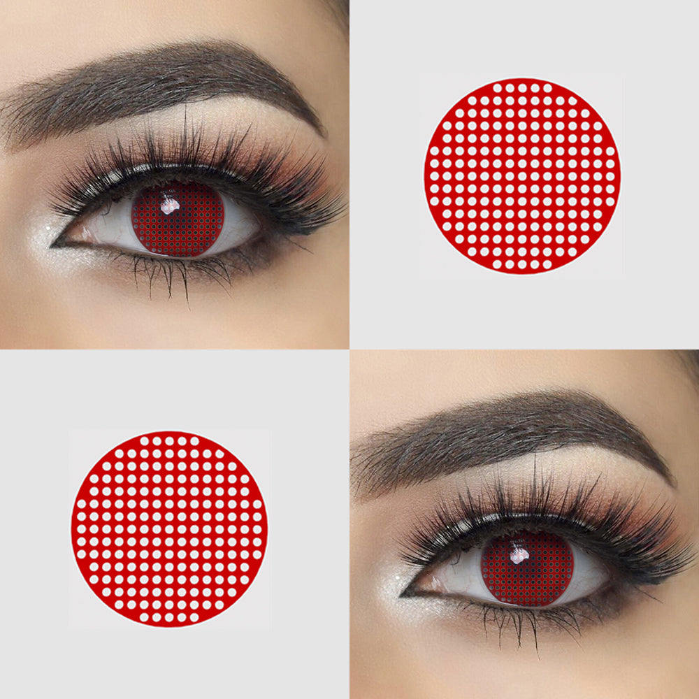Red Mesh Halloween Contact Lens Picture and Eye Effect