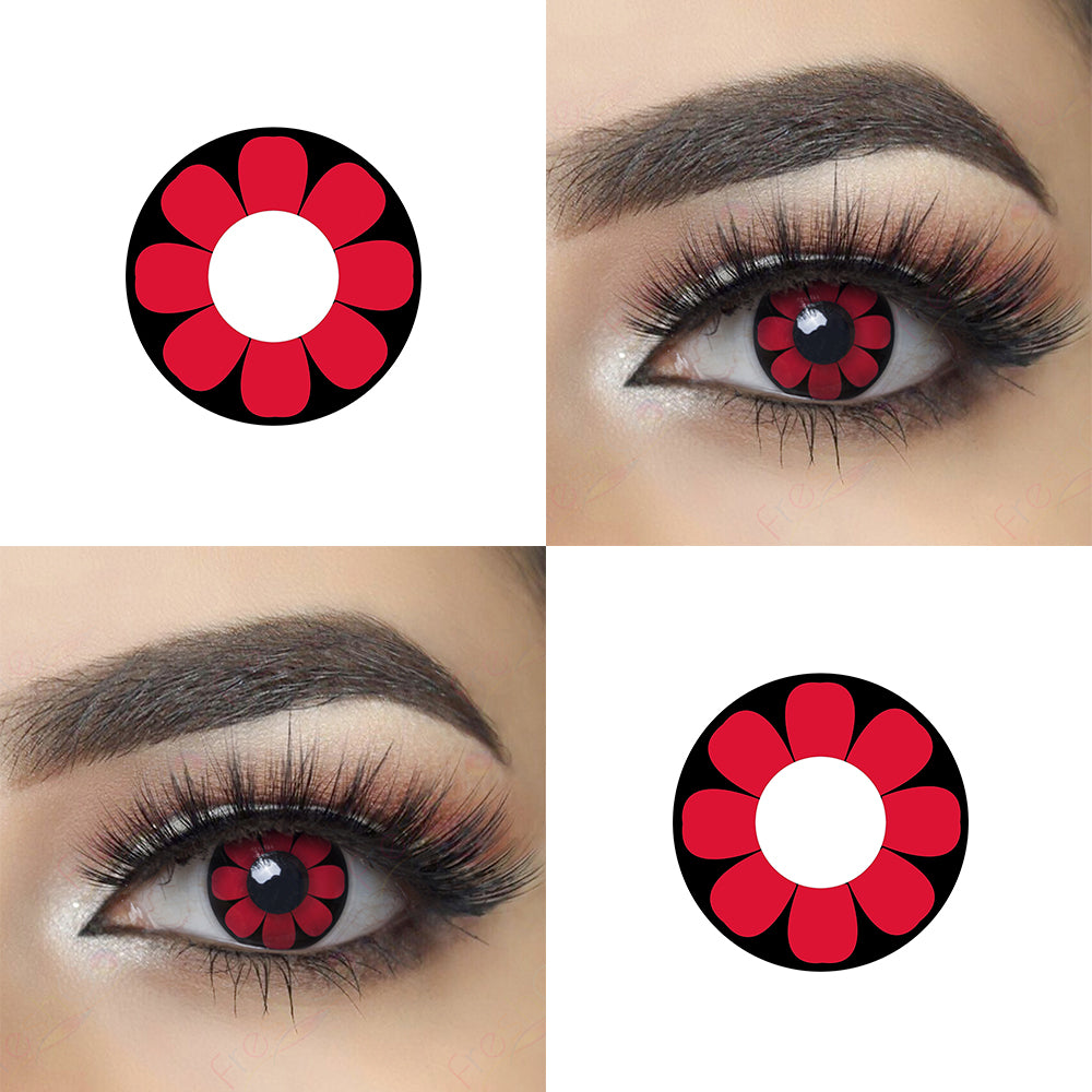 Red Daisy Halloween contacts with eye effect and lens photo