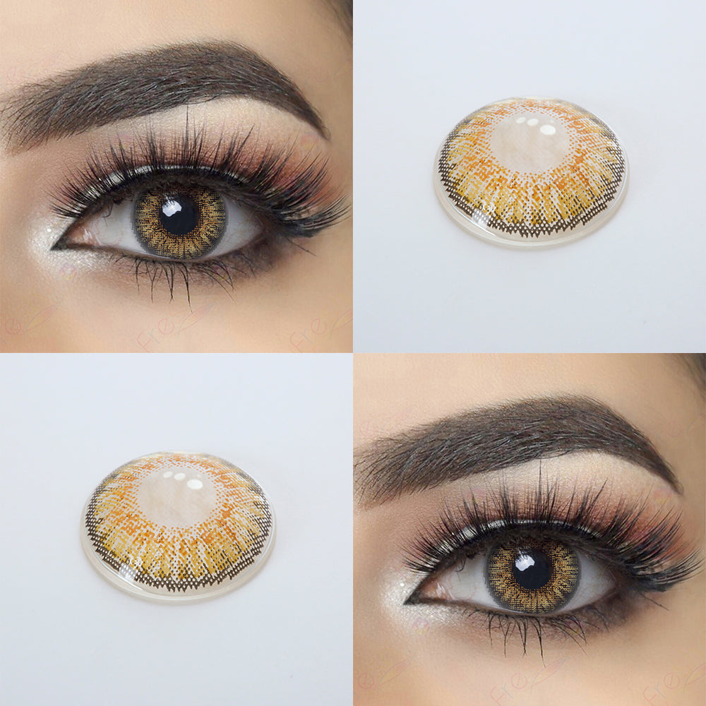 3 Tone Pure Hazel Colored Contacts Natural Looking Effect and 14.5 MM Lens Picture