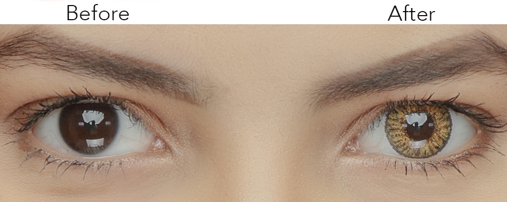 3 Tone Pure Hazel Colored Contacts Natural Looking Before and After Effect Picture