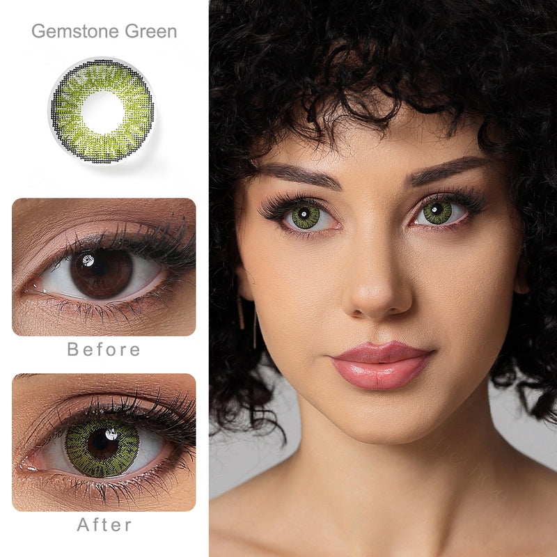 3 Tone Gemstone Green Colored Contacts