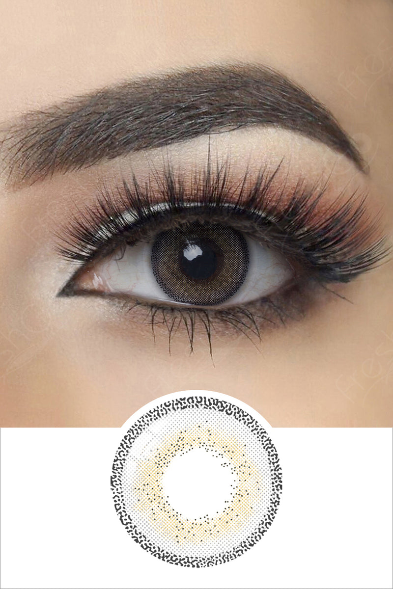 Edge Gray colored contact lenses with eye effect and plan lens photo