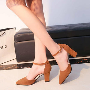 Flock Pointed Sued Feel Pumps