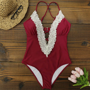 The Diana One Piece Ruffle Deep V Swimsuit