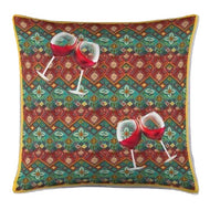 boho chic wine lovers throw pillow