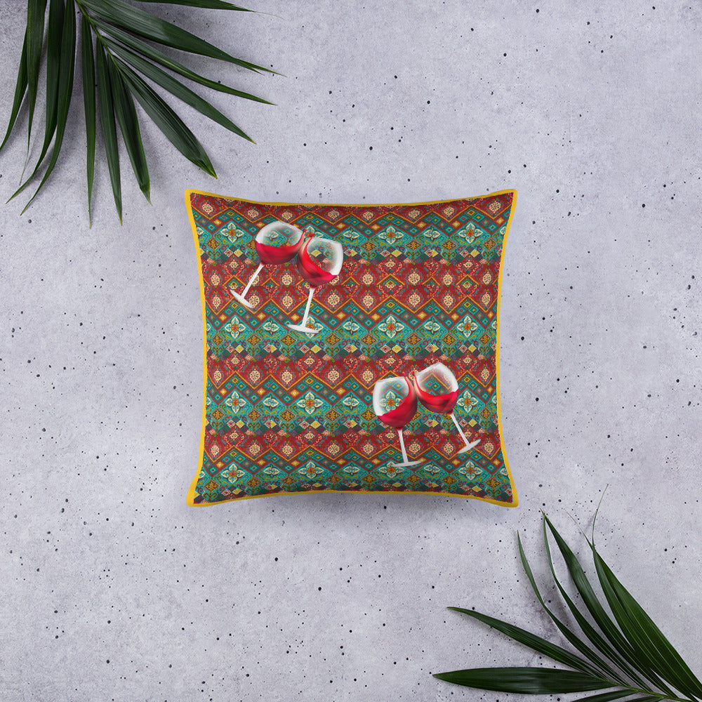 Boho Chic Red Wine Pillow