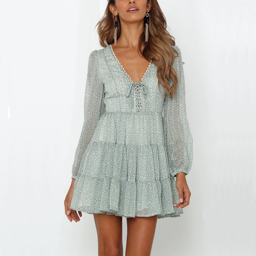 The Simone Vintage V Neck Ruffle Dress