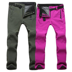 Outdoor Winter Men&Women Thick Warm Fleece Hiking Pants Softshell Waterproof Windproof Thermal Camping Climbing Elastic Waist