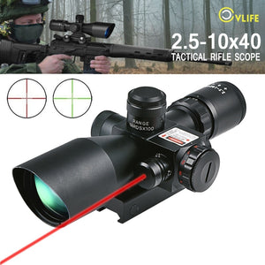 CVLIFE Rifle Scope 2.5-10x40 e Red & Green Illuminated Gun Scopes Hunting Gunscopes riflescope w/ Red Laser w/ 20mm & 11mm Mount