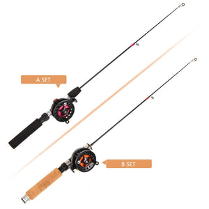 Hot Sale Winter Super short retractable Fishing SET Combo Lightweight Ice Fishing Telescopic Mini ice Fishing reel set Wholesale