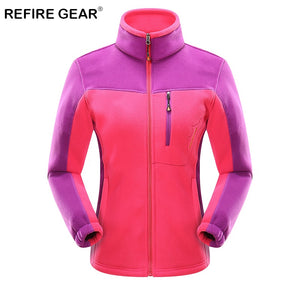 ReFire Gear Winter Sport Outdoor Hiking Jackets Women Warm Patchwork Fleece Climbing Fishing Clothes Coat Trekking Travel Jacket