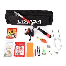 Load image into Gallery viewer, Lixada Rod Combo Fishing Tackle Set with 2.1m Telescopic Fiberglass Spinning Fishing Reel Baits Hooks Bag Fishing Pole Rod Set
