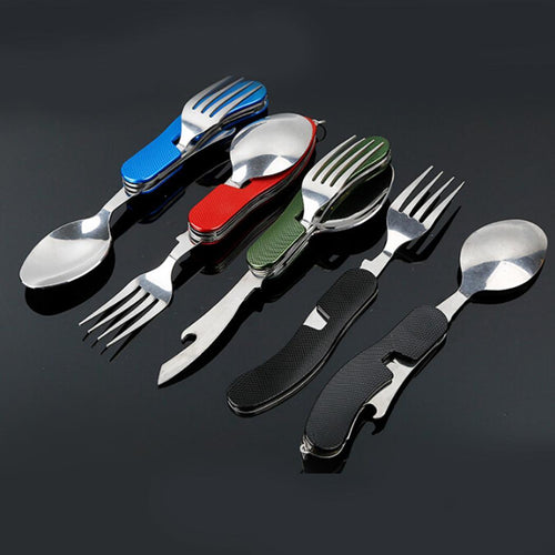 Stainless Steel Folding Spoon Fork Knife Portable Tool Set Bottle Opener Outdoor Camping Picnic Utensil