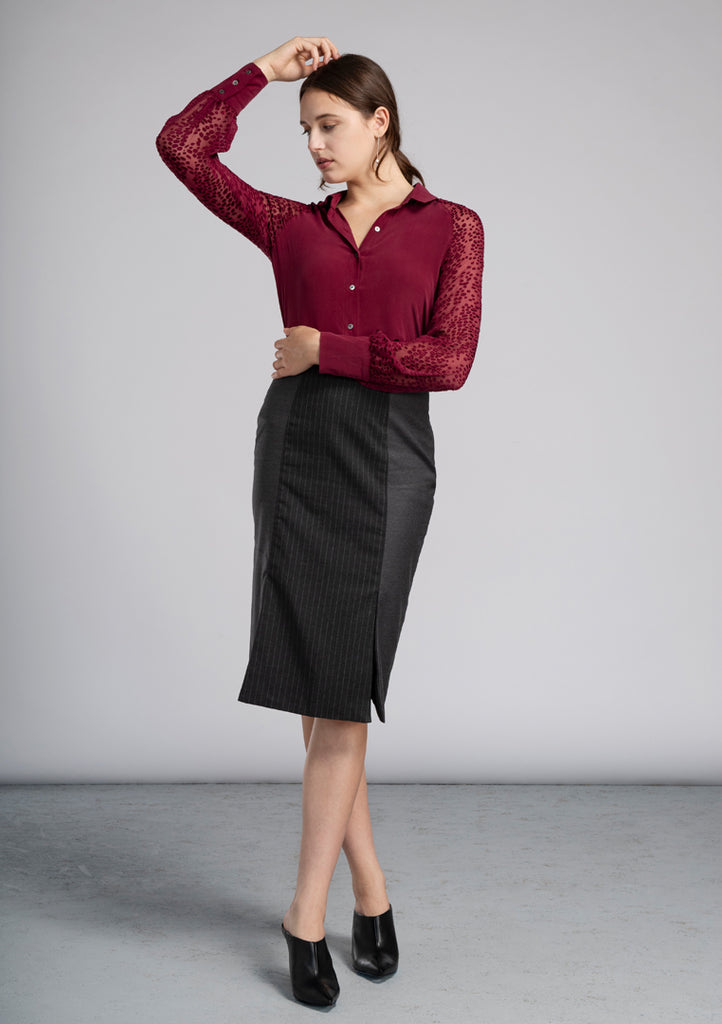 Charcoal Pinstripe Morgan Skirt - Victoria Wright