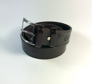 Cofee Leather Dress Belt with Edge Stitching