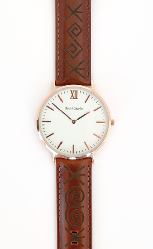 Andre Charles Rose Gold Watch Leather Band
