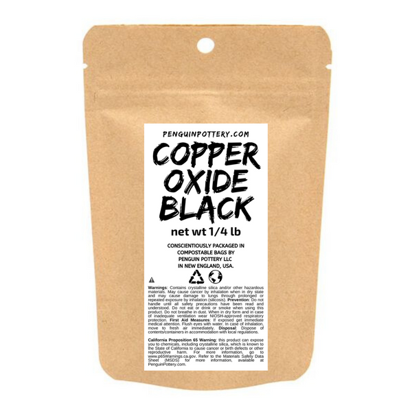 Penguin Pottery - Copper Oxide Black - 1/4 lb Bag - Biodegradable Packaging