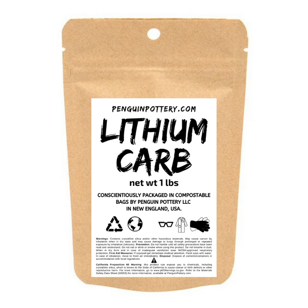 Penguin Pottery - Lithium Carbonate - 1 lb Bag - Biodegradable Packaging