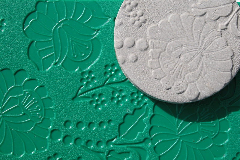 Chinese Clay Art USA Plastic Texture Mats, Flowers Patterns image 1