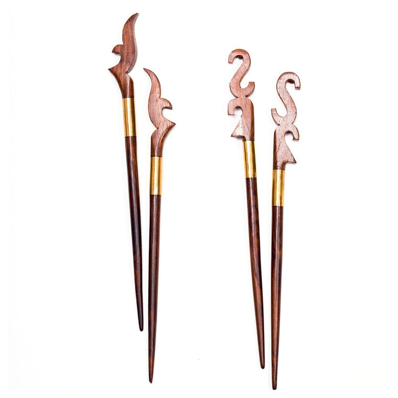 Sophia Woodcut Hair Pins (Set of 4) - Matr Boomie (A)