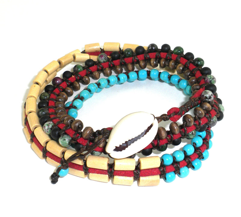 Mens Vegan Wrap Bracelet - Tribal Chief - Global Groove (J)