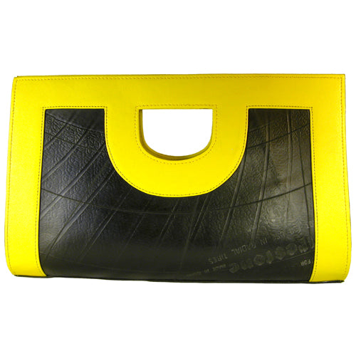 Anita Large Leather Recycled Tire Tube Clutch from El Salvador