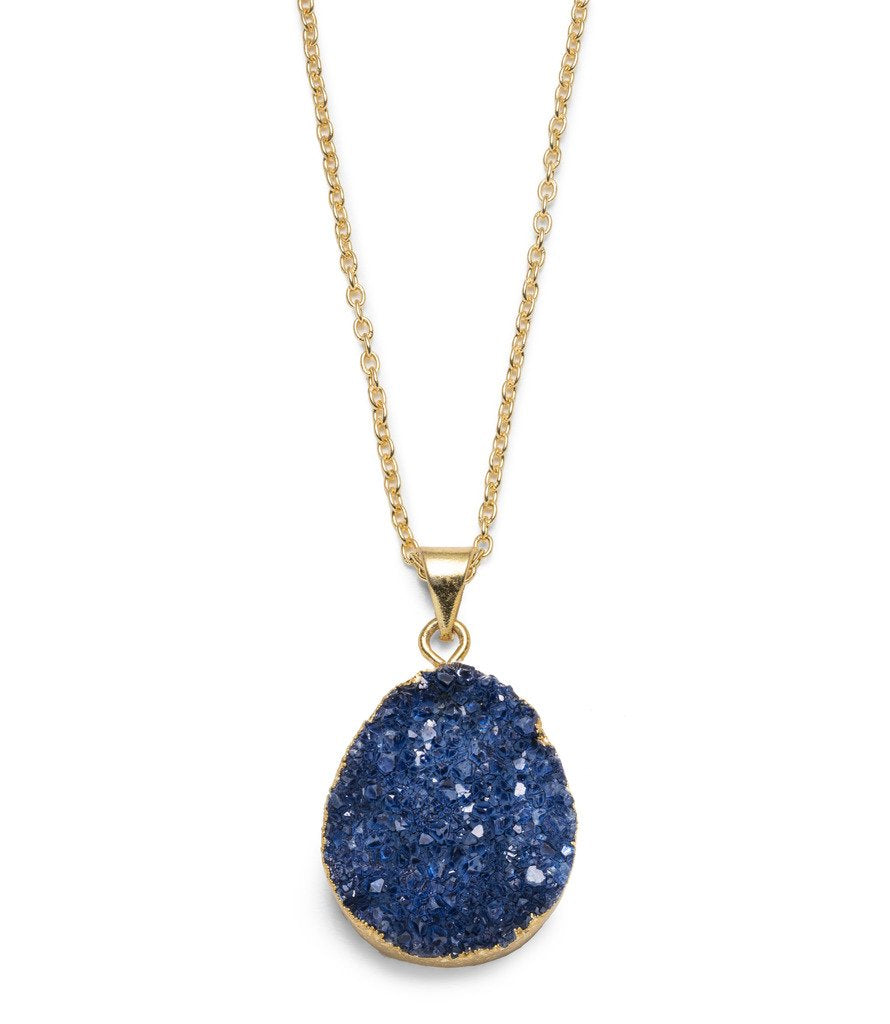 Rishima Druzy Drop Necklace - Dark Blue - Matr Boomie (Jewelry)