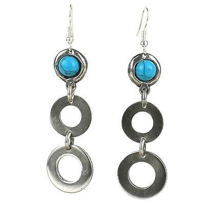 Bubbles and Turquoise Silverplated Earrings - Brass Images (E)