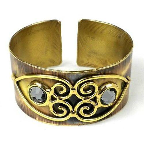 Scrolling Hearts and Gray Crystal Brass Cuff Handmade and Fair Trade