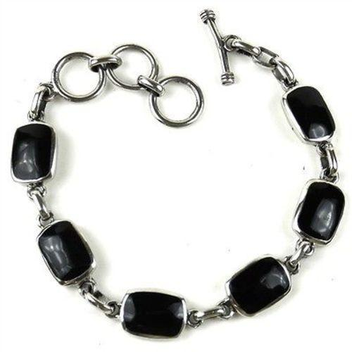 Handcrafted Mexican Alpaca Silver and Onyx Bracelet Handmade and Fair Trade