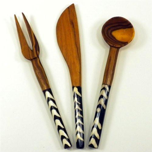 Olive Wood 3 Piece Appetizer Set - Jedando Handicrafts