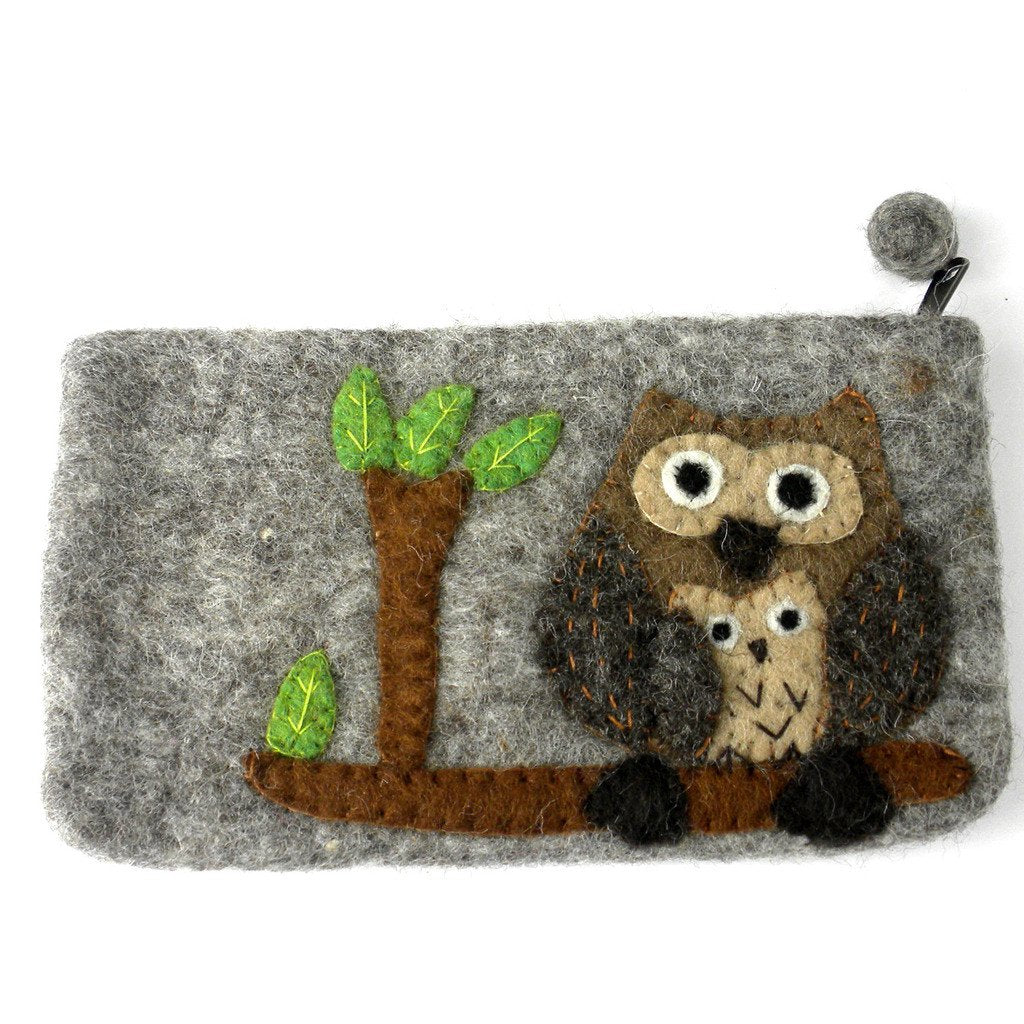 Handmade Tan Felted Owl Clutch - Global Groove (P)