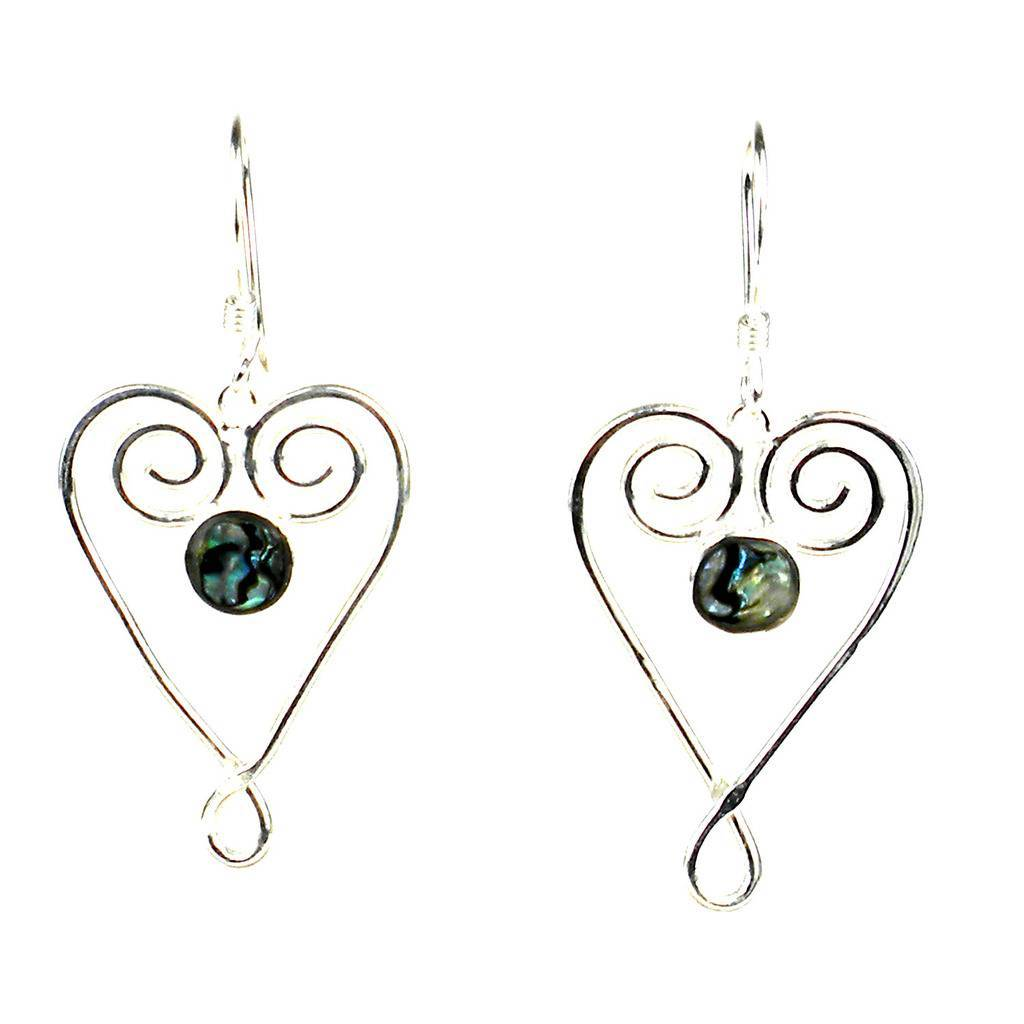 Silver Large Heart Earrings with Abalone Accent - Artisana