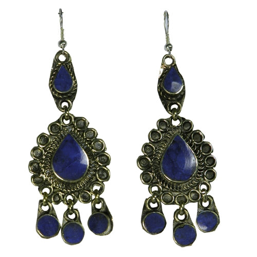 Deep Blue Lapis Stone and White Brass Chandelier-Style Earrings from Afghanistan