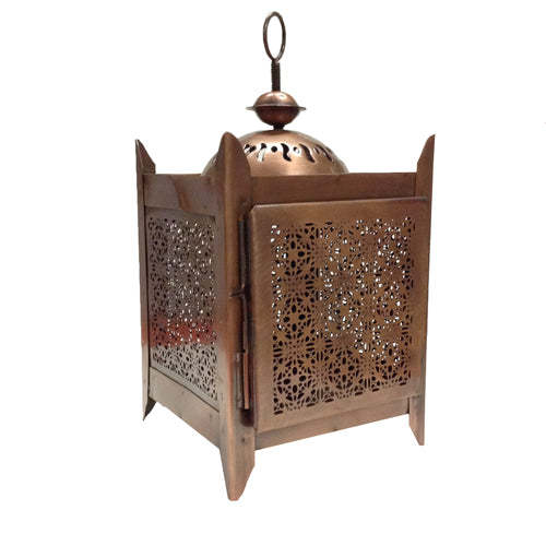 Recycled Metal Candle Lantern with 4 Sides from India