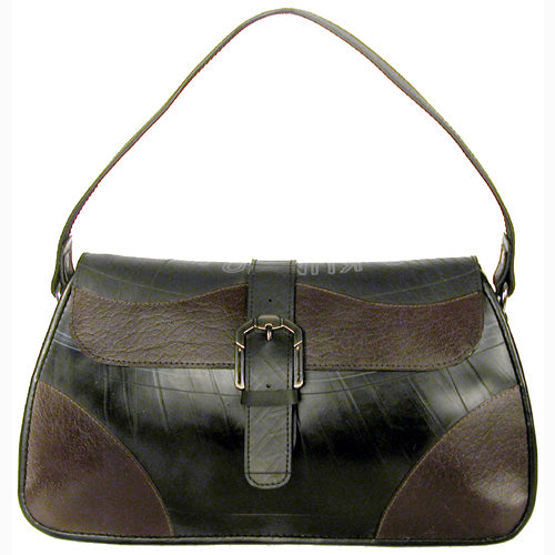 Silvia Recycled Leather and Tire Handbag from El Salvador