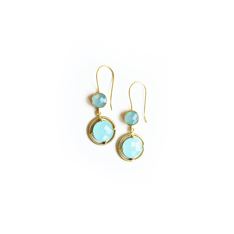 Aqua and Gold Solstice Drop Earrings from India