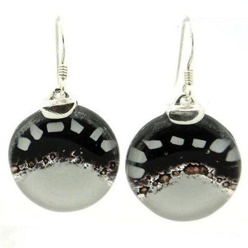 White to Black Fused Glass Earrings with Sterling Silver Handmade and Fair Trade