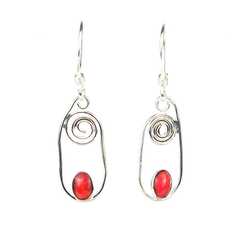 Silver Swirl Earrings with Jasper Accent - Artisana