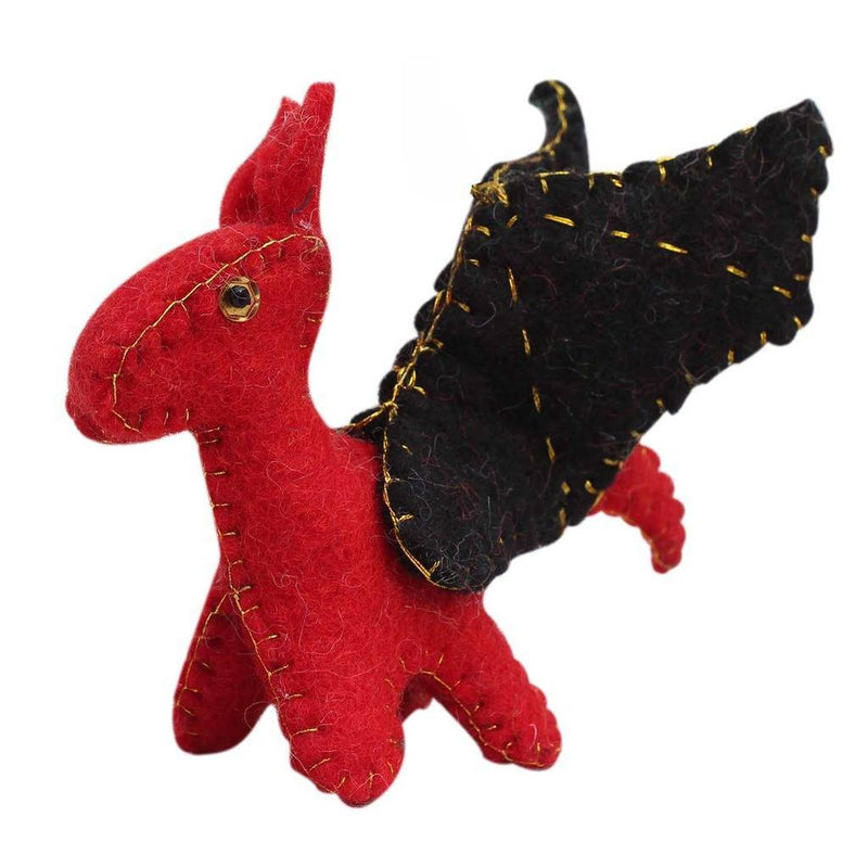 Red Felt Dragon Toy - Global Groove