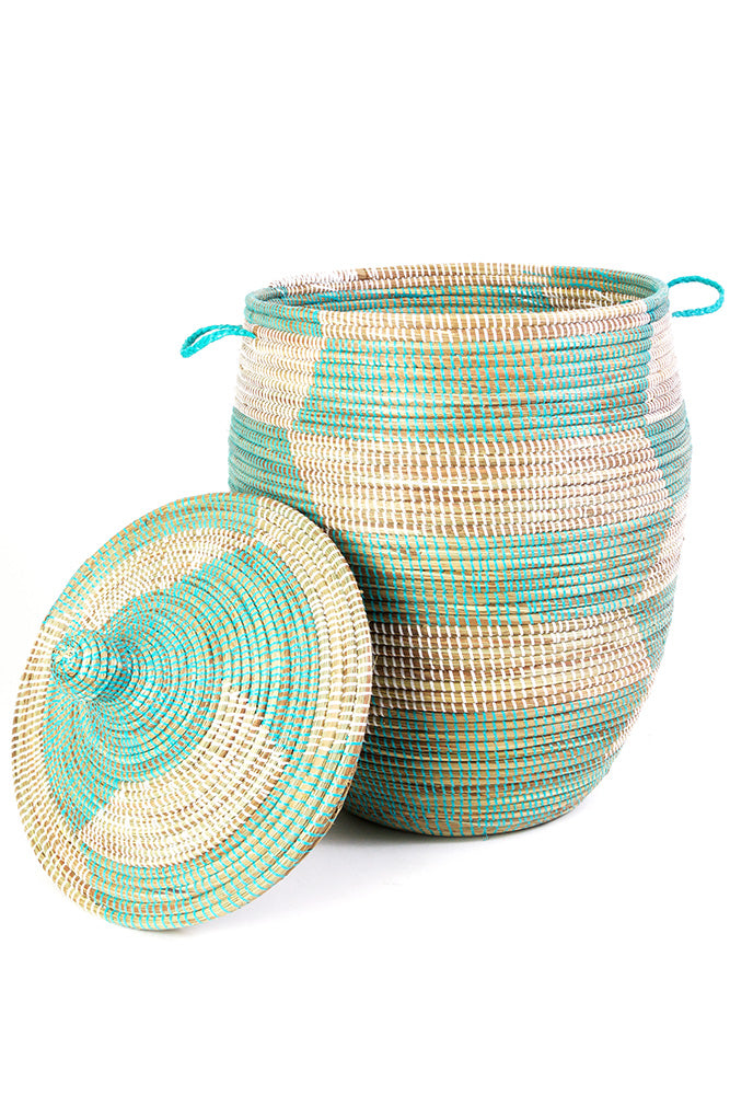 Aqua and White Handwoven Hamper