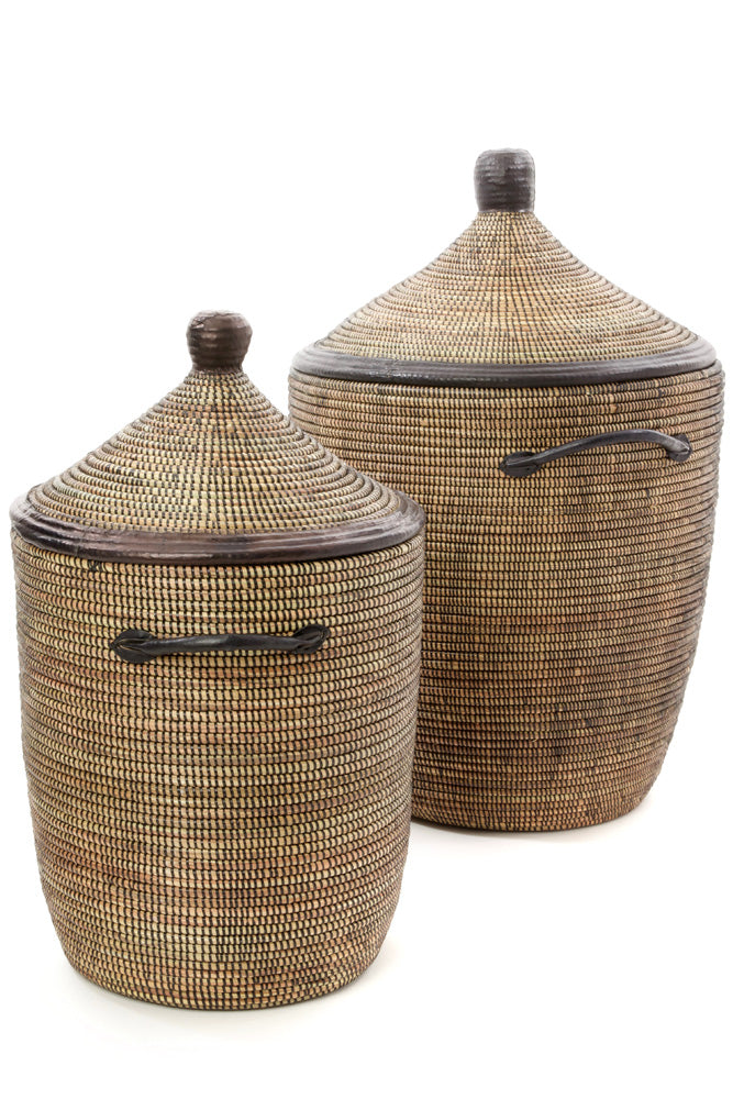 Handwoven Natural and Black with Leather Hamper Set
