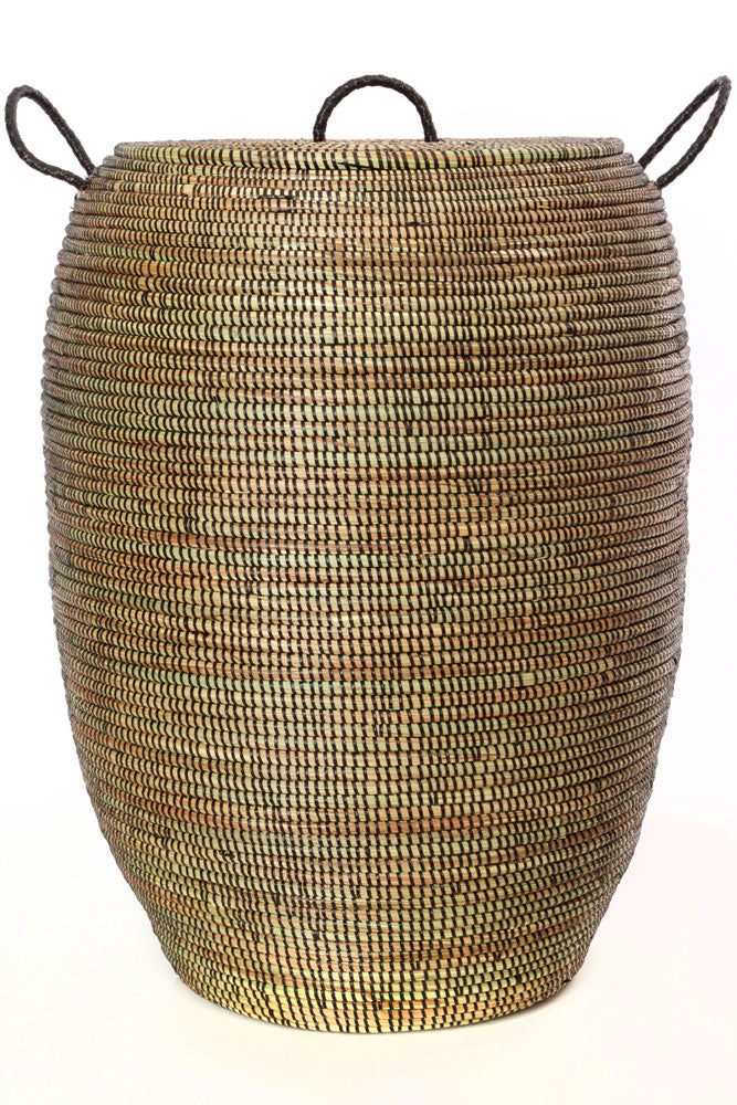 Handwoven Tall Black Bongo Laundry Basket
