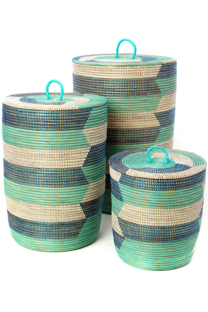 Set of 3 Aqua, Dark Blue, and White Hamper Baskets